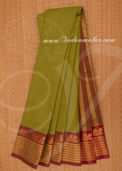 Traditional Green Colour Pure Cotton Saree Buy Online