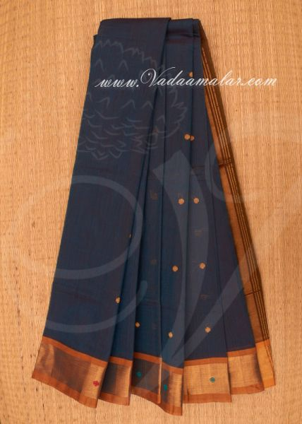 Dark Green Pure Cotton Saree from India Buy Online 5.30 meters