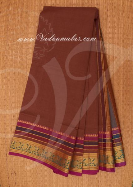 Traditional Brown Colour Pure Cotton Saree Buy Online