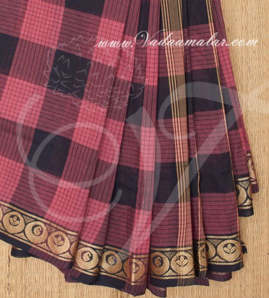 Traditional Black with Mustard Colour Pure Cotton Saree Buy Online