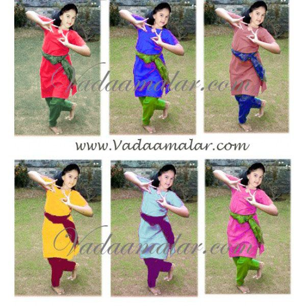 China Silk Kuchipudi, Bharatanatyam Kids Dance Practice Salwar kameez Costume India