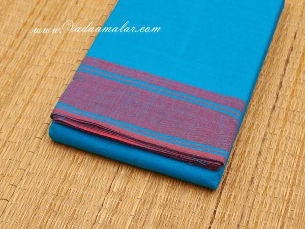 6 meter Blue with Red Border Kuchipudi Dance Practice Saree Pure Cotton Fabric