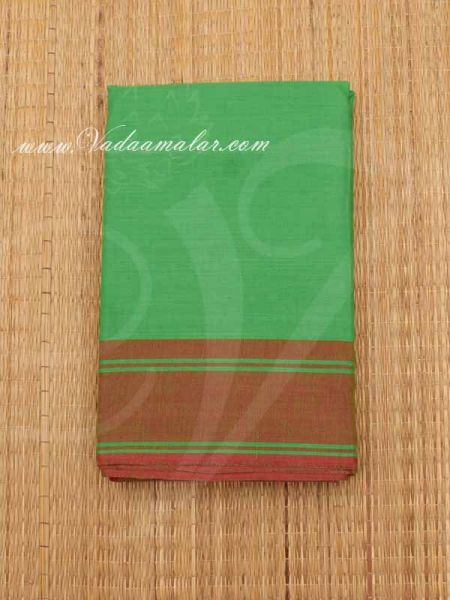 6 meters Light Green with Maroon Border Kuchipudi Dance Practice Saree Pure Cotton Fabric