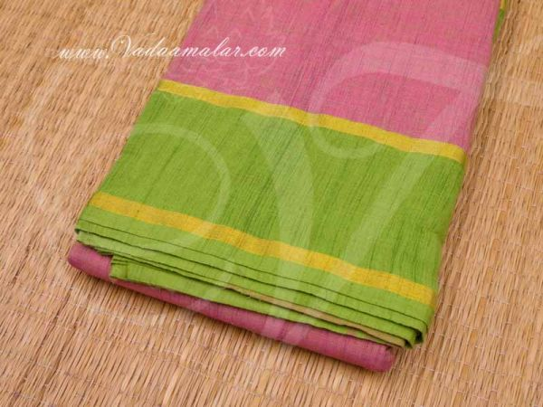 6 Meters Light pink Green Border Kuchipudi Dance Practice Saree Pure Cotton Fabric