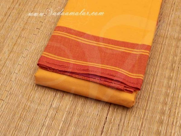 6 meters Mustard with Red Border Kuchipudi Dance Practice Saree Pure Cotton Fabric