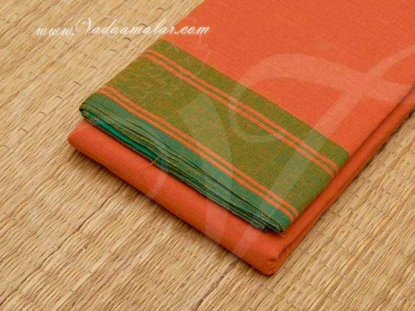6 meters Mustard with Green Border Kuchipudi Dance Practice Saree Pure Cotton Fabric