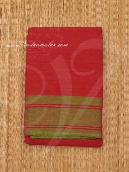 6 meter Red with Green Border Kuchipudi Dance Practice Saree Pure Cotton Fabric