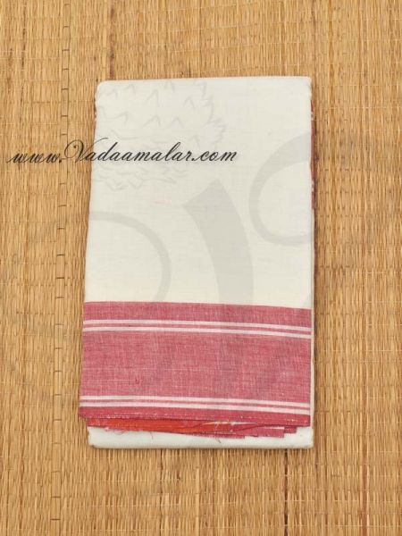 White with Red Border Kuchipudi Dance Practice Saree Pure Cotton Fabric