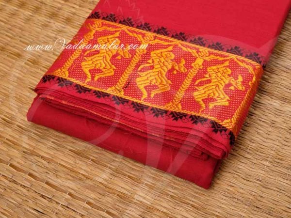 Red With Black Kuchipudi Dance Practice Sarees Sari Pure Cotton Buy Now