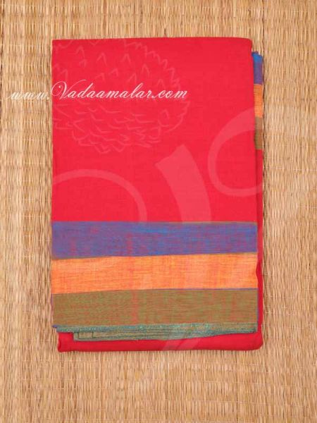 6 Meters Red with Blue Kuchipudi Dance Practice Saree Pure Cotton Fabric