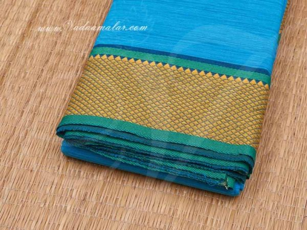 Blue Colour Bharatanatyam Dance Half Saree Pure Cotton Sarees Costume India