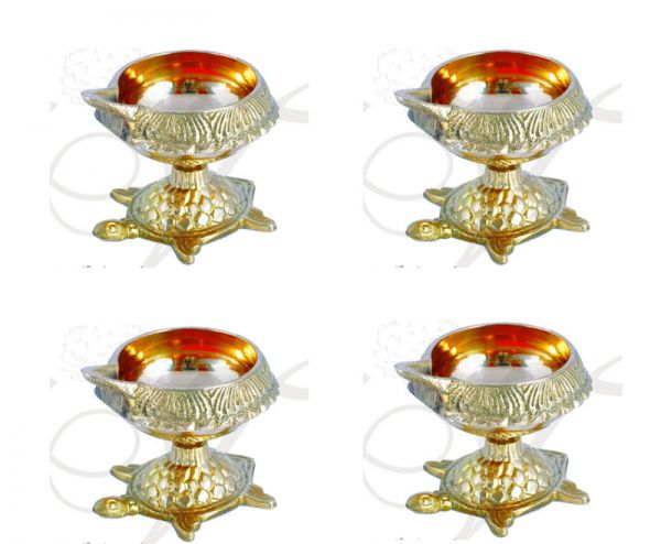 kuber Diya In Brass Pooja  Lamps Deepam For Decorations 4 pieces