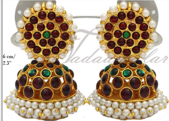 Large Indian Jhumkis Jhumka Traditional South India Earrings Ear studs