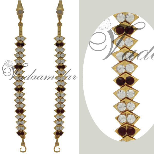 2 pieces White Maroon Stone Earring extensions ear ring chains