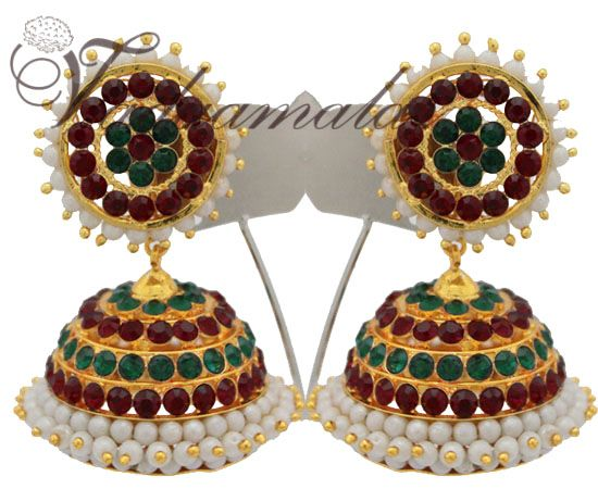 Large Indian Jhumkis With Red And Green Stones. Jhumka Traditional South India Earrings Ear studs