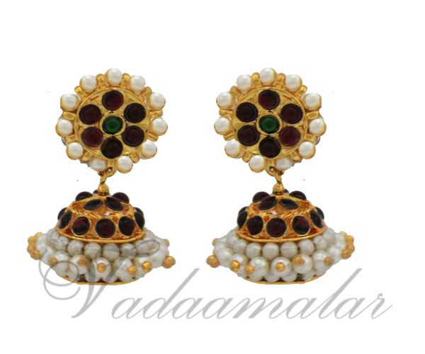 Kemp and pearl Jhumkis Jhumka Traditional South India Earrings Red