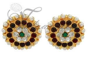 Round Traditional temple jewellery Earring Studs Earrings pin type