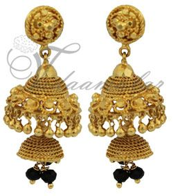 2 Steps gold plated  jewelry earring and black beads buy traditional Indian ear hangings