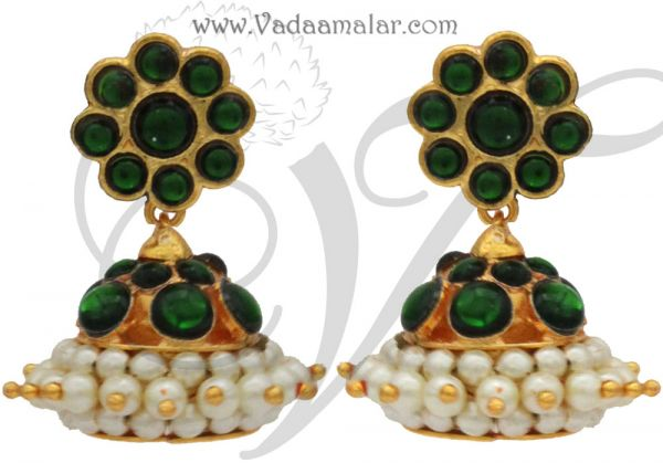 Green Kemp Stone with Pearl Jhumkis Jhumka Traditional South India Earrings