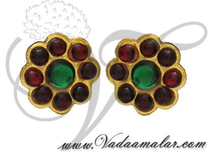 Red and Green Kemp Stones Temple Jewellery Ear stud South India Earrings