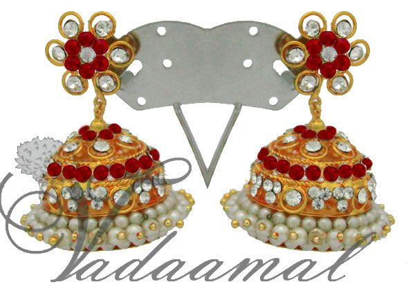 White and Red Color Stone and Pearl Jhumkis Jhumka Traditional South India Earrings