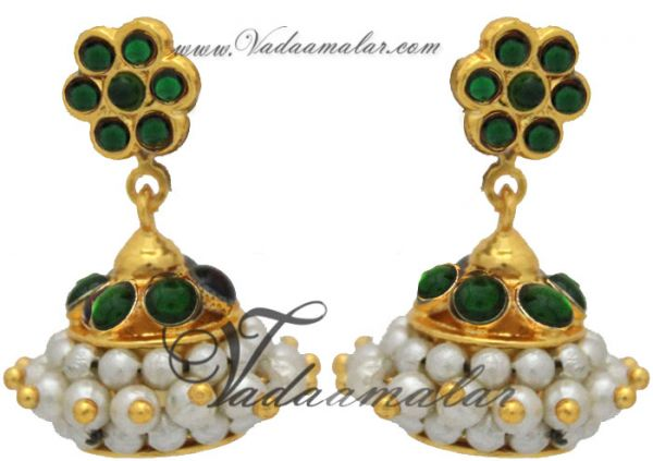 Kemp and pearl Jhumkis Jhumka Traditional South India Earrings
