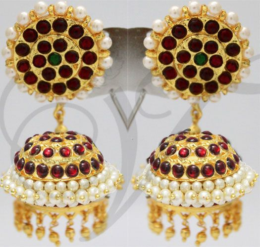 Kemp Stone with Pearl Jhumkis Traditional South India Earrings