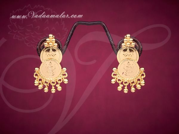 Coin Design Ear Stud Traditional Indian Earrings Micro Gold plated