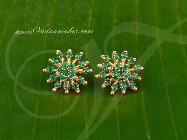 Traditional Indian Flower Design Green Emerald Stones Ear studs