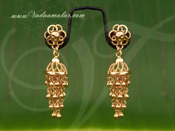 3 Steps gold plated  jewelry earring  buy traditional Indian ear hangings