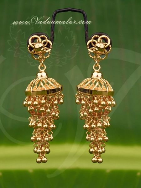 5 Steps gold plated  jewelry earring  buy traditional Indian ear hangings