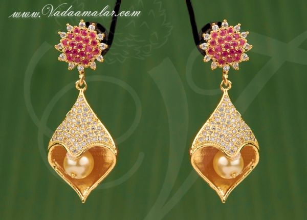 Trendy Fashionable American Diamond and Ruby Stones Earring