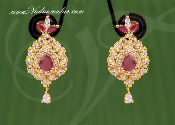 American Diamond and Ruby Stone Indian Earring Buy Online