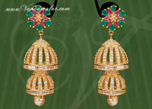 Two step jhumka design with American diamond and ruby stones stones Buy