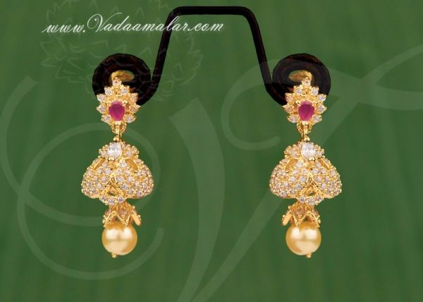 Gold plated american diamond and ruby stone jhumka jhumki buy online