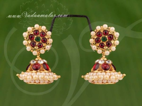 Kids size Traditional South India Kemp Earrings