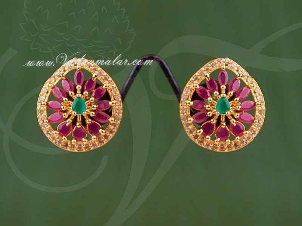 Classical Round Design AD,Ruby And Emerald Stones Ear studs
