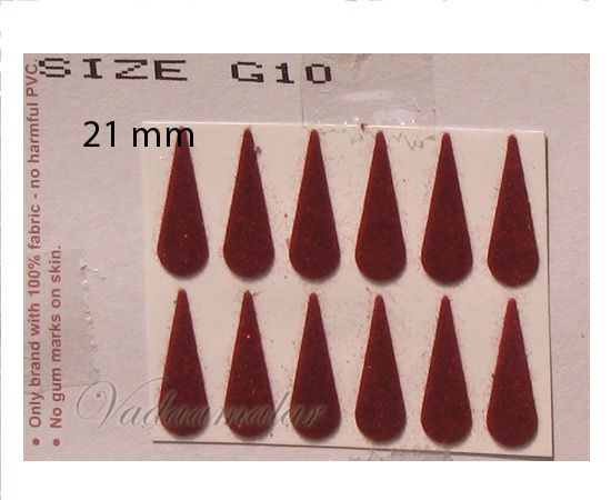 1 Pack of 20 sheets Indian Maroon / Black / Red Tear Bindis Forehead Body Dots -20 mm