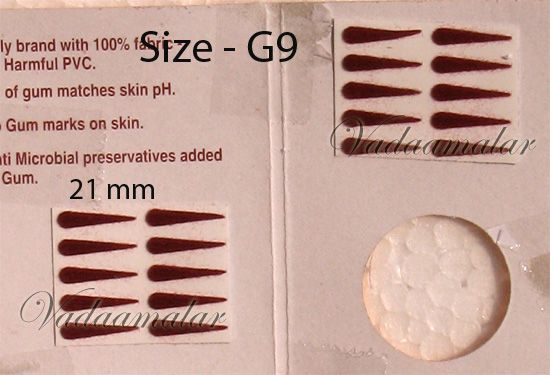 1 Pack of 15 sheets Indian Maroon Tear Bindis Forehead Body Dots -21mm