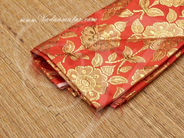 Gold flower print synthetic fabric for decorations - Red Buy Online