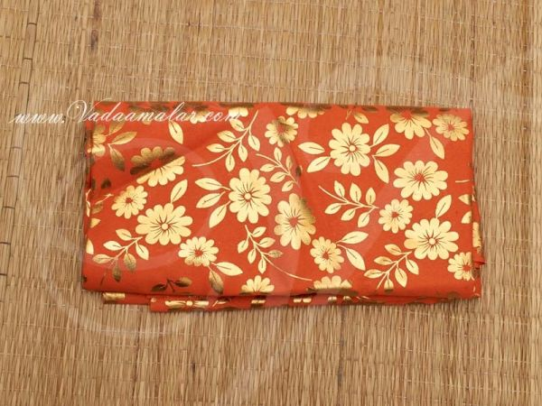 Gold flower print synthetic fabric for decorations - Orange Buy Online