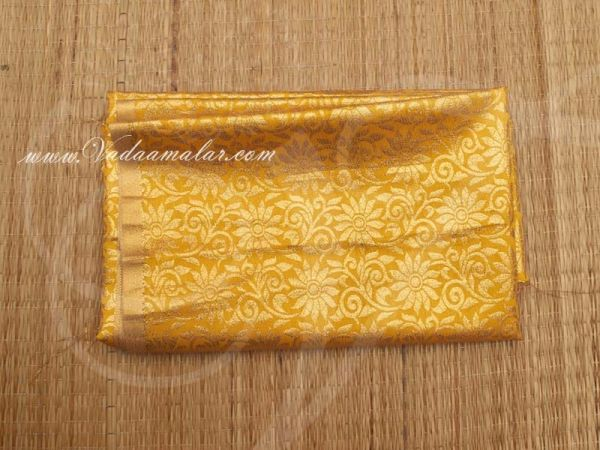 Gold flower print synthetic fabric for decorations - Yellow Buy Online