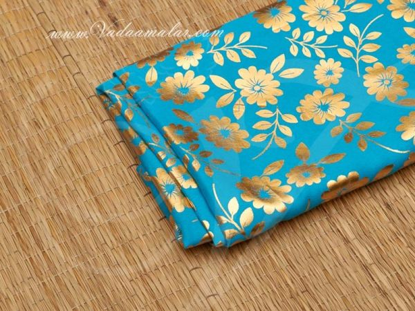 Gold flower print synthetic fabric for decorations - Blue Buy Online