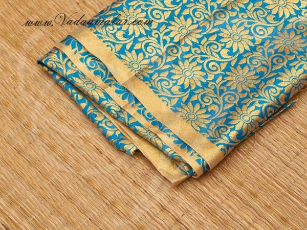 Gold flower print synthetic fabric for decorations - Turquoise Buy Online