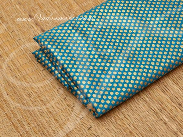Gold Design print synthetic fabric for decorations - Blue Buy Online