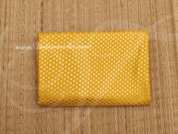 Gold Design print synthetic fabric for decorations - Yellow Buy Online