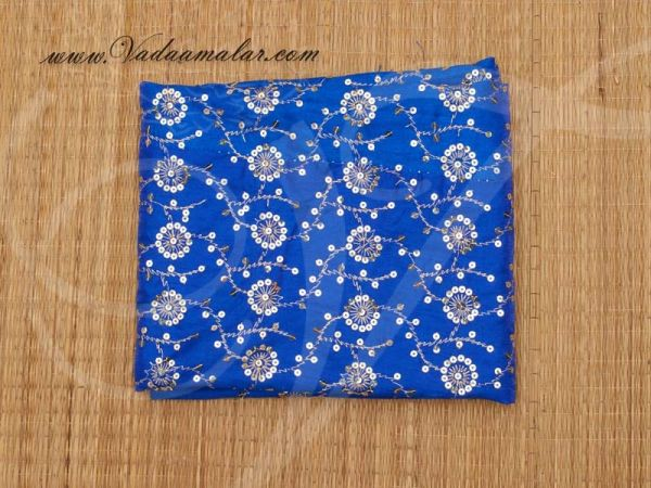 Gold flower print synthetic sequin fabric for decorations - Blue Buy Online