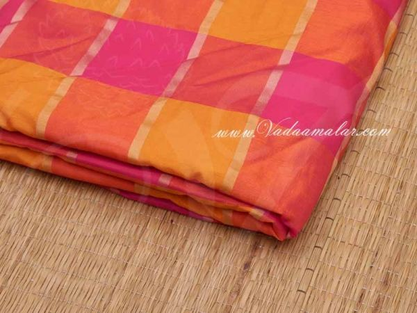 Silk Cotton Fabric Checked Design Pink and Yellow Material Buy online