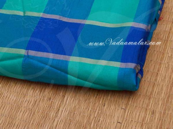 Silk Cotton Fabric Checked Design Blue and Turquiose Material Buy online