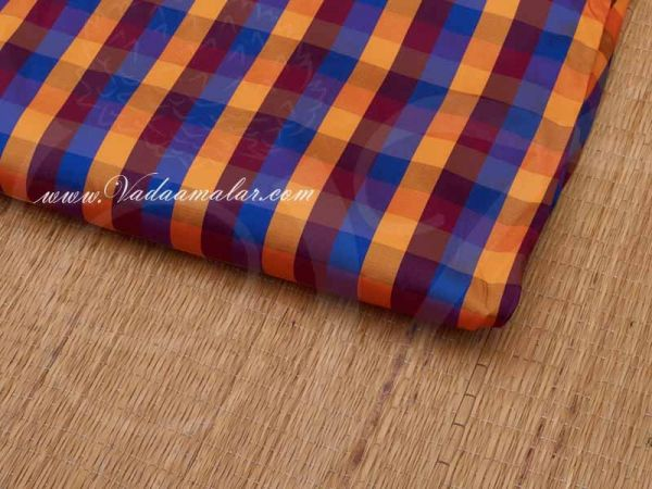 Silk Cotton Fabric Checked Design Blue and Yellow Material Buy online